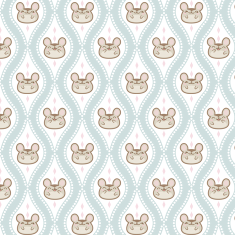 Diamond_mice_small_grey_blue fabric by woodmouse&bobbit on Spoonflower - custom fabric