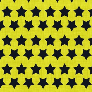 Stars Black on Neon Yellow Linen