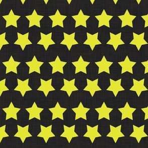 Stars Neon Yellow on Black Linen