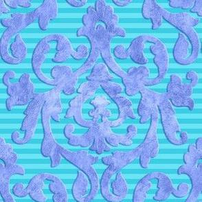 Lavender-Aqua Damask SML