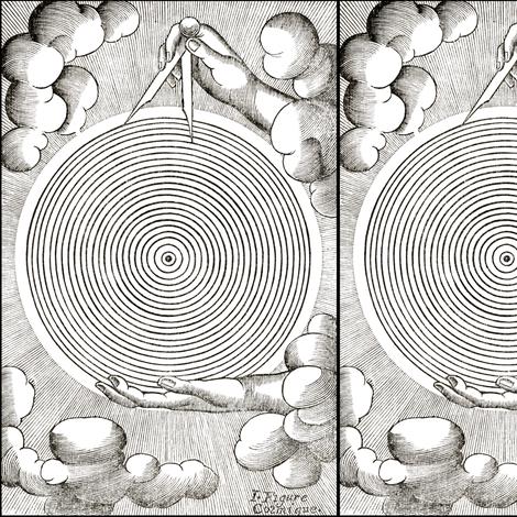 clouds hands spirals circles great architect of the universe god clouds Illuminati Freemasons Templar knights compass monochrome black white occult shinning rays light glow glowing sun sacred geometry  Masonic rituals symbolism symbols mysterious  spiritu fabric by raveneve on Spoonflower - custom fabric