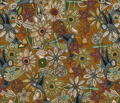 nectar bird garden gold fabric by scrummy on Spoonflower - custom fabric