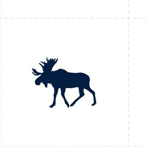 "7"" quilt block with cut lines - navy moose on white"
