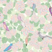 Hydrangeas and Birds