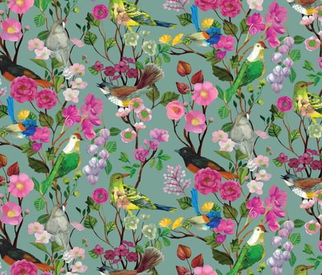 Birds and Blooms Chinoiserie {Duck Egg} fabric by ceciliamok on Spoonflower - custom fabric