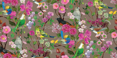 Birds and Blooms Chinoiserie {Fawn}
