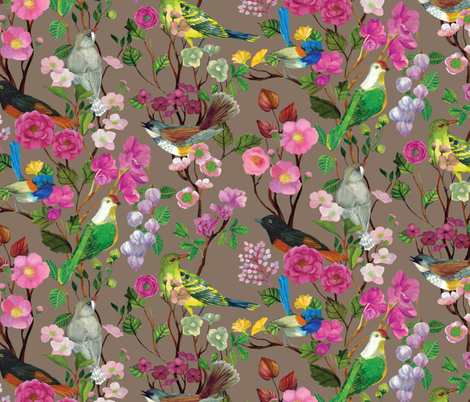Birds and Blooms Chinoiserie {Fawn} fabric by ceciliamok on Spoonflower - custom fabric