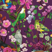 Birds and Blooms Chinoiserie {Plum}
