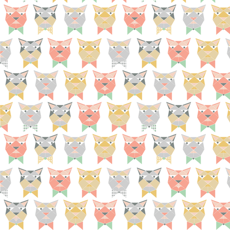 bored cats in bowties fabric by arrpdesign on Spoonflower - custom fabric
