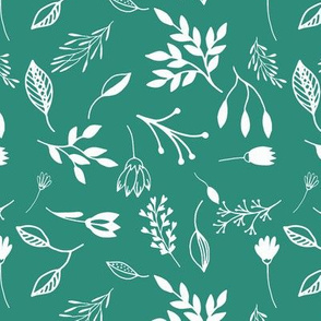 Maybe Ditsy - White on Teal