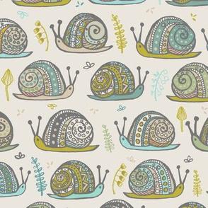Snails Aqua Med Grey