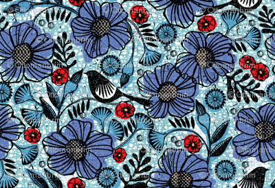 Blue blooms and black birds-floral-flowers-summer