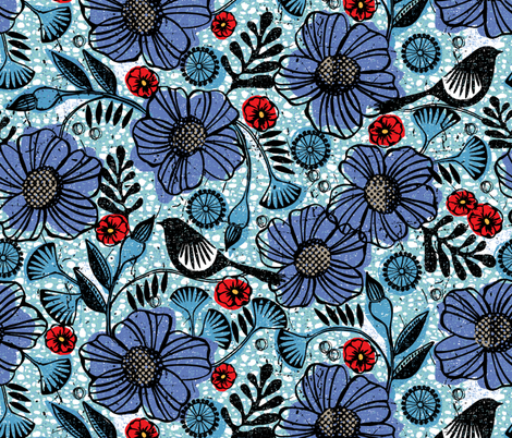 Blue blooms and black birds-floral-flowers-summer fabric by ottomanbrim on Spoonflower - custom fabric