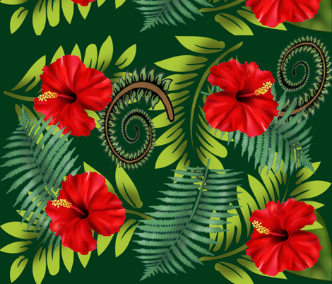 Red_Hibiscus fabric by deva_kolb on Spoonflower - custom fabric