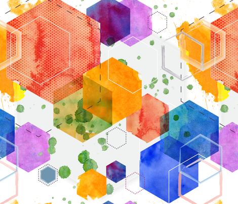 Watercolour Hexagonia fabric by lydesign on Spoonflower - custom fabric