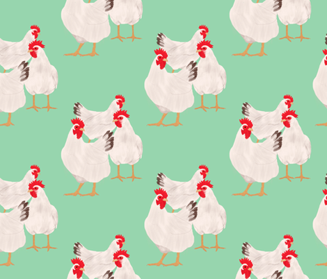 Chickens on the Grass fabric by amy_hadden on Spoonflower - custom fabric