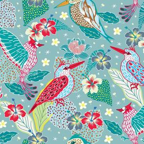 Hawaian birds and bloom