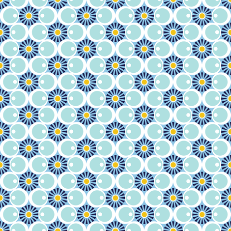 Bird's Eye View* (Polymer) || geometric floral star starburst flower flowers hexagons heroes circles mod fabric by pennycandy on Spoonflower - custom fabric