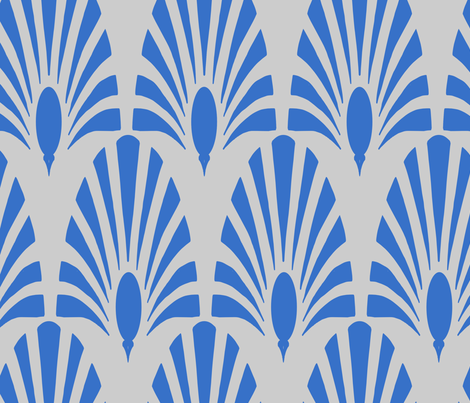 gatsby peacock and bloom cobalt fabric by lulu_funk on Spoonflower - custom fabric