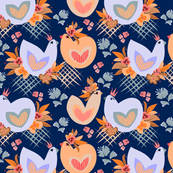 Birds and Blooms Love on Deep Blue