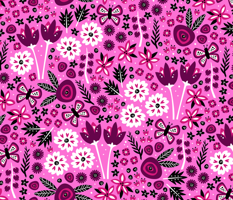 Spring Garden (Lt. Pink) fabric by robyriker on Spoonflower - custom fabric