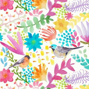 Birds and Flowers in Watercolor
