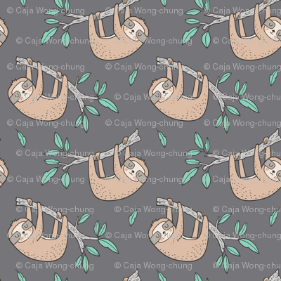 Sloth Sloths on Tree Branch with Leaves on Grey