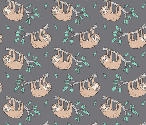 Sloth Sloths on Tree Branch with Leaves on Grey fabric by caja_design on Spoonflower - custom fabric