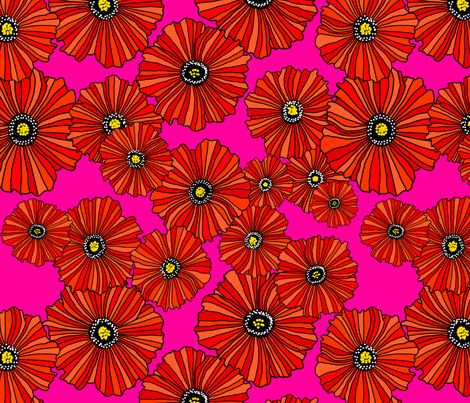 Scarlet poppies on fuschia fabric by beesocks on Spoonflower - custom fabric