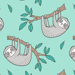 Sloth Sloths on Tree Branch with Leaves on Mint Green