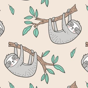 Sloth Sloths on Tree Branch with Leaves