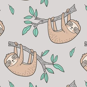 Sloth Sloths on Tree Branch with Leaves on Light Grey
