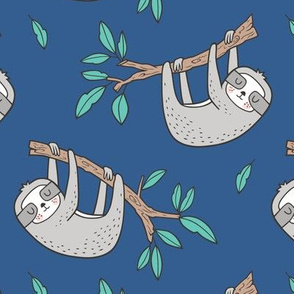 Sloth Sloths on Tree Branch with Leaves on Blue