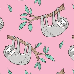 Sloth Sloths on Tree Branch with Leaves on Pink