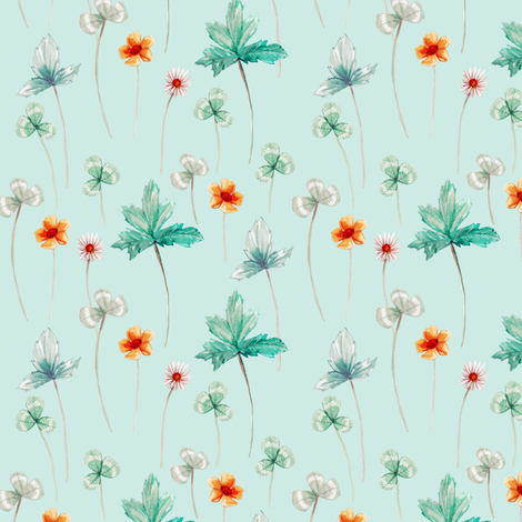 Meadow Floral Pale, Silver Aqua fabric by thistleandfox on Spoonflower - custom fabric