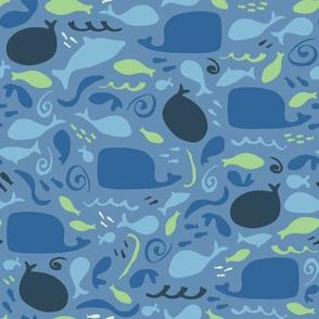 Blue Sea, Blue Whales (blue)