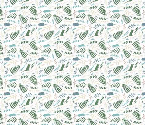 Rats and Ferns (white) fabric by hazelnut_green on Spoonflower - custom fabric