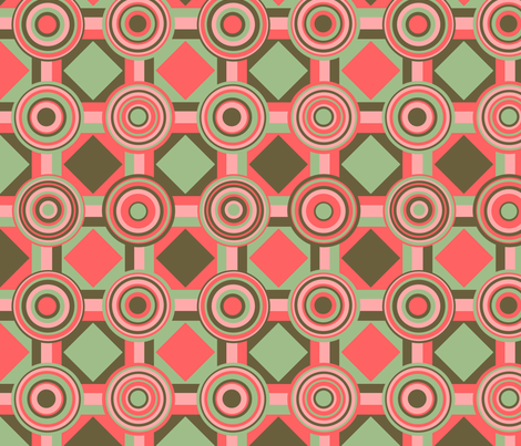 Green and Pink Shapes fabric by chiral on Spoonflower - custom fabric