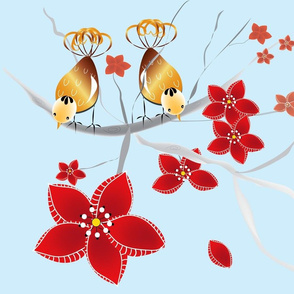 Golden Birds & Scarlett Flowers