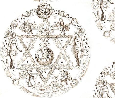 alchemy pentagram cherubs angels stars unicorns sun moon man