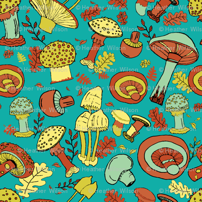 Mushroom Merriment in Blue Green and Brown