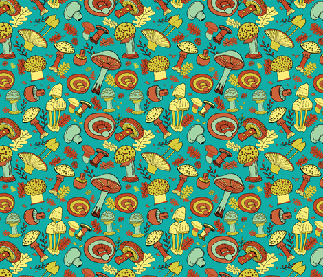 Mushroom Merriment in Blue Green and Brown fabric by owen_and_olive on Spoonflower - custom fabric