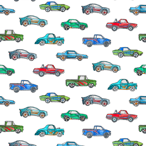 Extra Little Toy Cars in Watercolor on Clean White fabric by micklyn on Spoonflower - custom fabric
