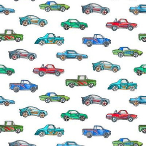 Extra Little Toy Cars in Watercolor on Clean White