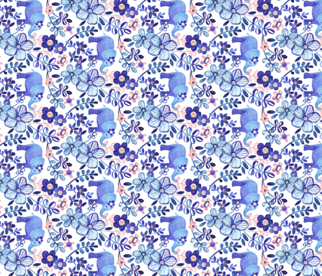 Little Purple Elephant Watercolor Floral on White Horizontal fabric by micklyn on Spoonflower - custom fabric