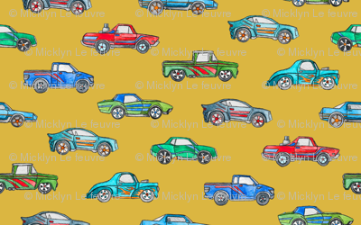 Extra Little Toy Cars in Watercolor on Mustard