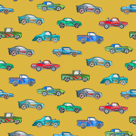 Extra Little Toy Cars in Watercolor on Mustard fabric by micklyn on Spoonflower - custom fabric
