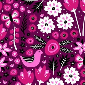 Birds and Blossoms (Pink)
