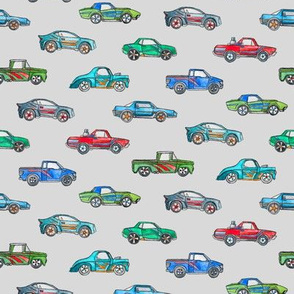 Extra Little Toy Cars in Watercolor on Grey