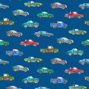 Extra Little Toy Cars in Watercolor on Dark Blue
